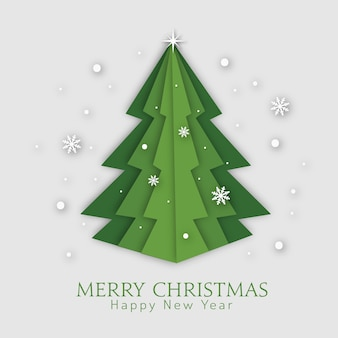 Green christmas tree paper art style. merry christmas and happy new year greeting card.
