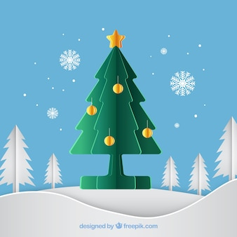 Green christmas tree in paper style