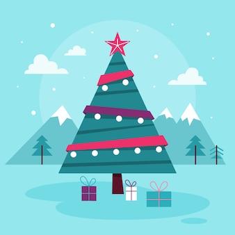 Зеленая рождественская елка с красной звездой и огнями на ней. новогоднее праздничное украшение. подарки под елкой, атмосфера праздника. рождественские иллюстрации