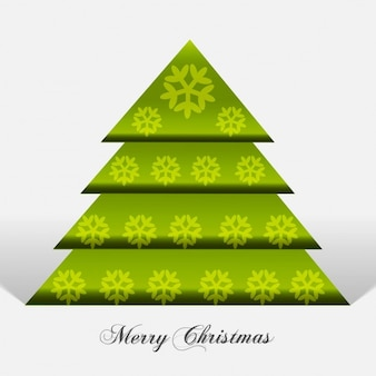 Green christmas tree with snowflakes