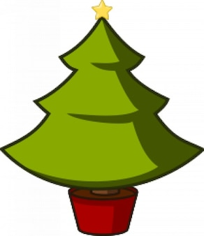 Green christmas tree with yellow star