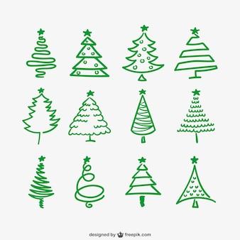 Зеленый елки очертания