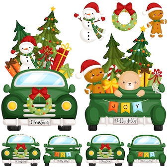 Green christmas truck front