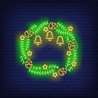 Green christmas wreath in neon style