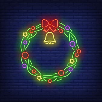 Green christmas wreath with bell in neon style