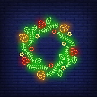 Green christmas wreath with berries in neon style