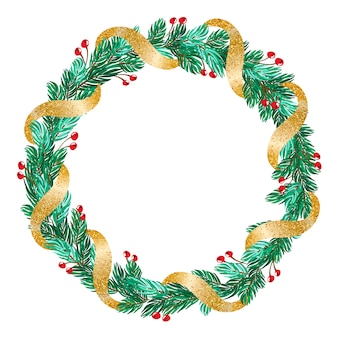 Green christmas  wreath with golden ribbon and decorations