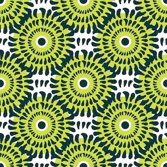 녹색 국화 원활한 벡터 패턴