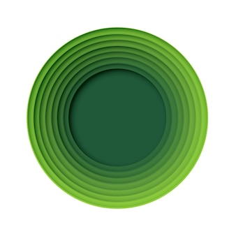 Зеленый круг абстрактный бумажный стиль искусства формы природа и концепция эко технологии. векторный дизайн.