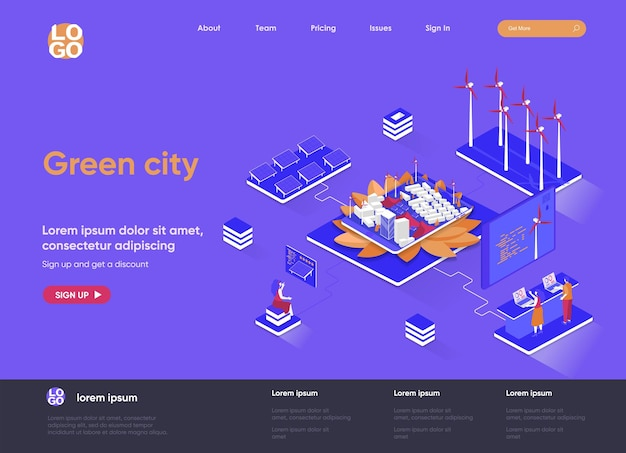 Green city 3d isometric landing page website   illustration with people characters