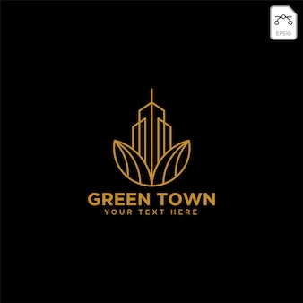 Green city agriculture with gold color logo