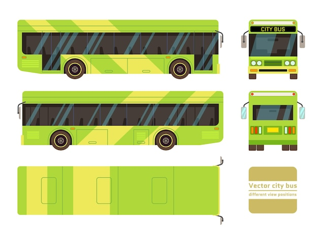 Green city bus in different view positions