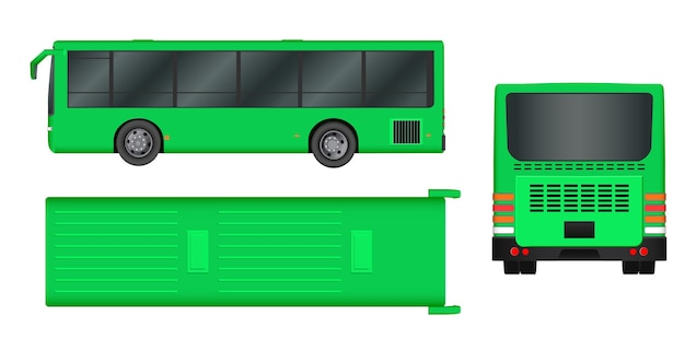 Зеленый городской автобусный шаблон. пассажирский транспорт. векторная иллюстрация eps 10 на белом фоне.