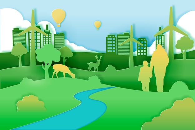 Концепция зеленого города в бумажном стиле