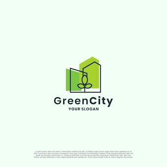 グリーンシティ、エコシティのロゴデザイン。自然と不動産の組み合わせの概念