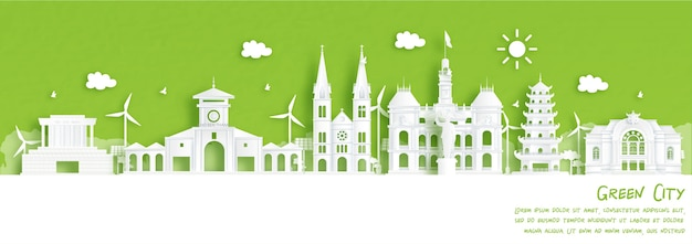 Green city of ho chi minh city, vietnam. environment and ecology concept in paper cut style. vector illustration.
