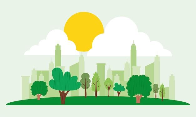 緑の街のイラスト