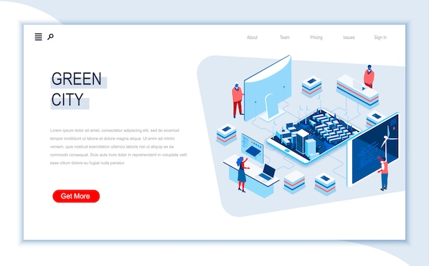 Green city isometric landing page template.