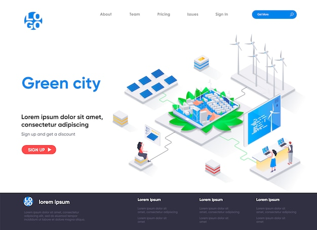 Green city isometric landing page template