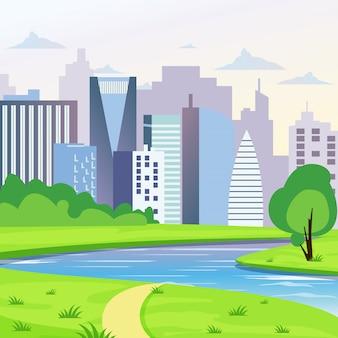 道路、川、木のイラストと緑豊かな街の風景。フラットスタイルの街の背景。