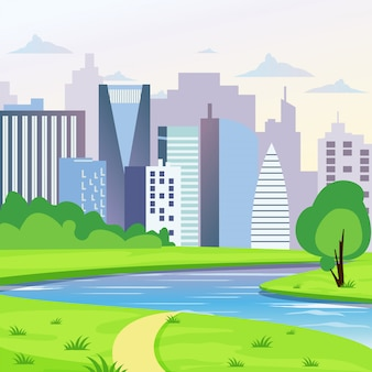 Green city landscape with road, river and trees illustration. city background in flat style.