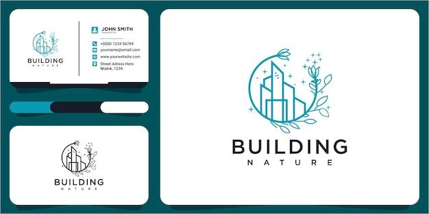 녹색 도시 로고와 명함, 아이콘, 건강, 장소, 건물. 건물 자연 로고 디자인