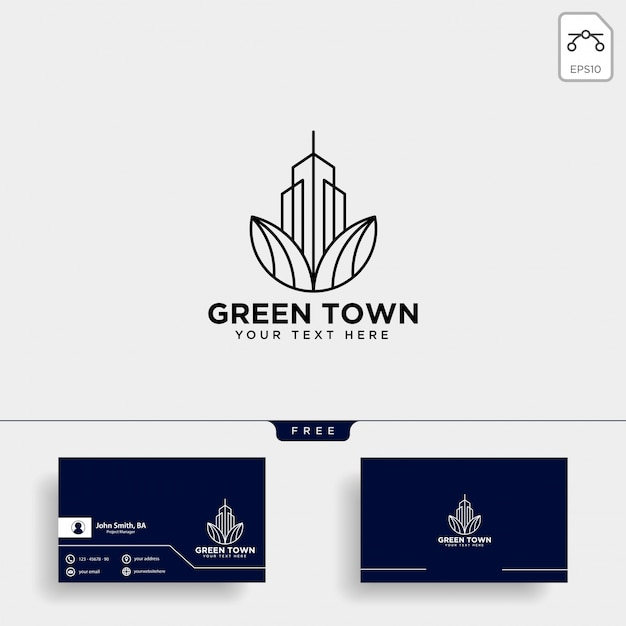 Green city logo and business card template