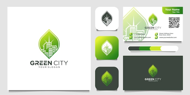 Green city logo design and business card icon building leaf premium vector