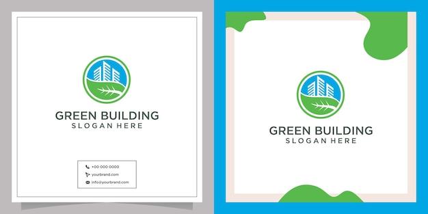 Дизайн логотипа зеленого города, соединяющего листья и здания