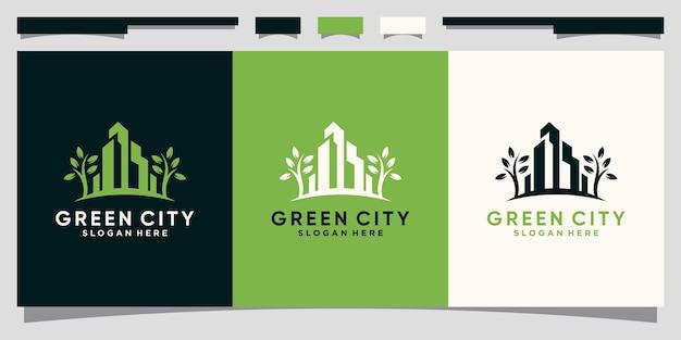 현대적인 개념으로 도시 건설을 위한 녹색 도시 로고 디자인 영감 premium vector