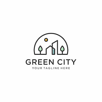 Green city logo design inspiration, line art, outline, simple, minimalist premium