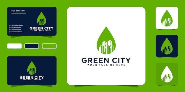 Вдохновение для дизайна логотипа зеленого города с листьями и зданиями, а также вдохновение для визитных карточек