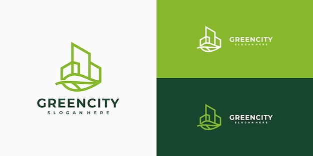 Green city logo design minimalist linear