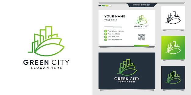 Шаблон дизайна логотипа зеленого города и дизайн визитной карточки.