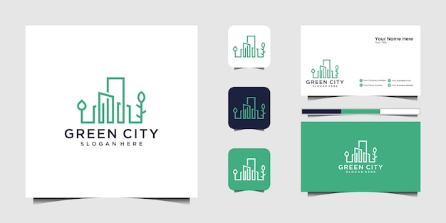 Зеленый город логотип дизайн шаблона здания. минималистичный контур символ логотип и визитка