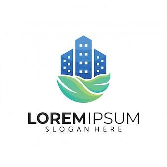 Green city logo design template