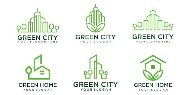 Green city logo design vector template. symbol icon of building, apartment, green home and city.