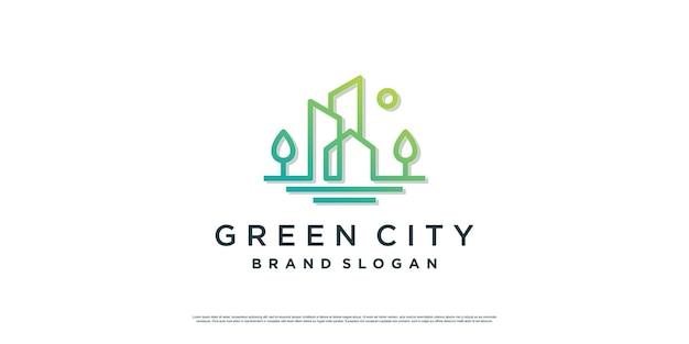 不動産会社プレミアムベクトルの緑の街のロゴイラスト