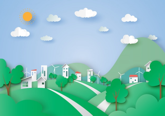 Green city and nature landscape background paper art style.