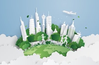 Green city on the sky.