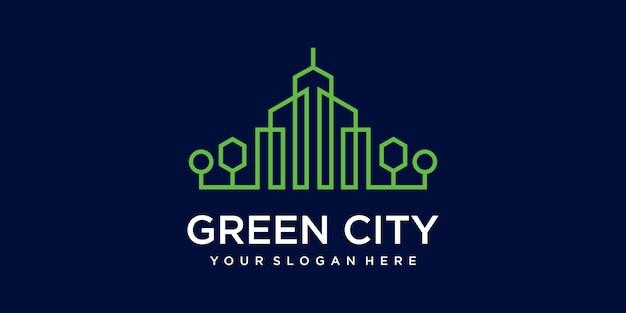 녹색 도시 부동산 템플릿 건물입니다. 환경 친화적 인 건물을위한 미니멀리스트 개요 기호. 아이콘 및 명함 프리미엄.