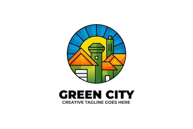 그린 시티 타운 부동산 다채로운 로고
