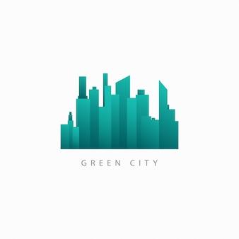 Зеленый город вектор шаблон дизайна логотипа иллюстрации