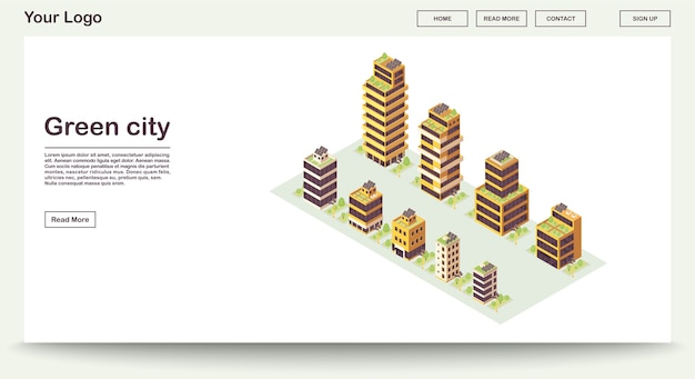 Green city webpage template with isometric illustration. smart buildings with solar grids on roof. eco town. sustainable environment. website interface design. landing page 3d concept