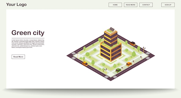 Green city webpage  template with isometric illustration