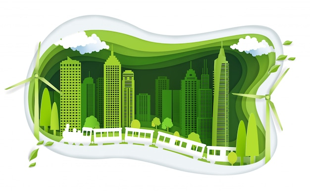 Green city with building and ecology idea