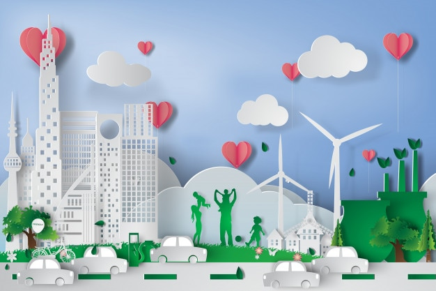 Green city with eco concept elements