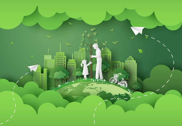 Green city with mom and girl .paper cut and digital craft style.