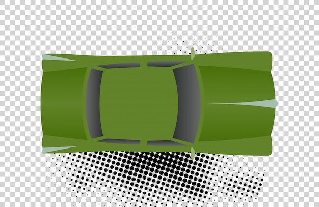 Green classic car from top view vector illustration