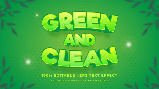 Green and clean editable 3d vector text style effect. editable illustrator text style.
